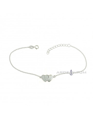 Bracciale maglia forzatina placcato oro bianco con bimba zirconata pendente in argento 925\u2030