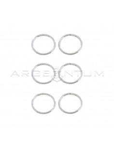 Orecchini cerchio a scomparsa da ø 12 mm placcati oro bianco in argento 925 (3 coppie)