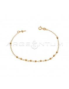 Bracciale rosario a sfera liscia da 3 mm con croce a lastra terminale placcato oro rosa in argento 925