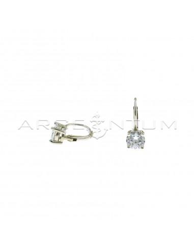 Orecchini monachella con punto luce bianco placcati oro bianco in argento 925