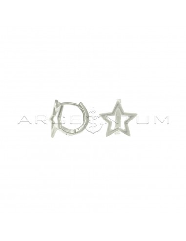 Orecchini cerchio a canna quadrata con sagoma stella e chiusura a scattino placcati oro bianco in argento 925