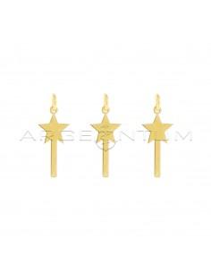 Ciondoli bacchette magiche a lastra placcati oro giallo in argento 925 (3 pz.)